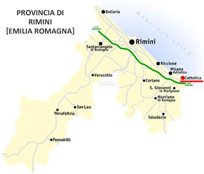 Cartina: Cattolica, provincia di Rimini